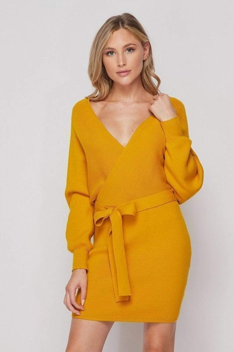 Clara Sweater Dress Mustard