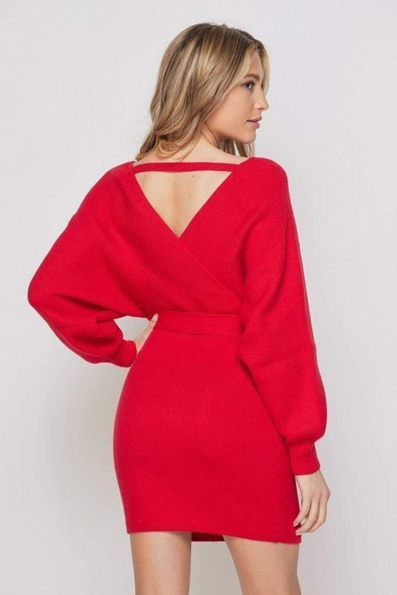Clara Sweater Dress Red