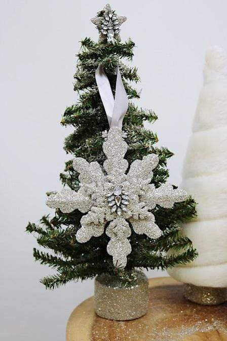 Snowflake w Brooch Ornament