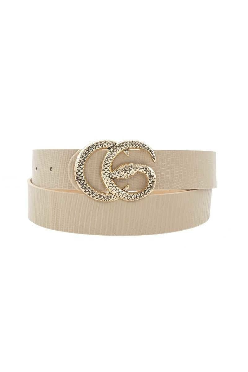 Shop Neighbors Belts One Size / Taupe / SPIW-33210D068A CG Snake Buckle Belt Taupe