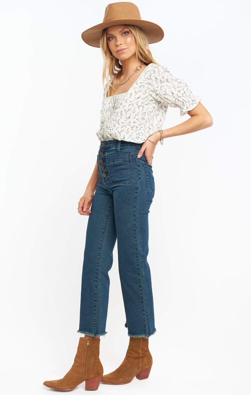 Show Me Your MuMu Denim Cropped Farrah Trouser Dark Rainstorm