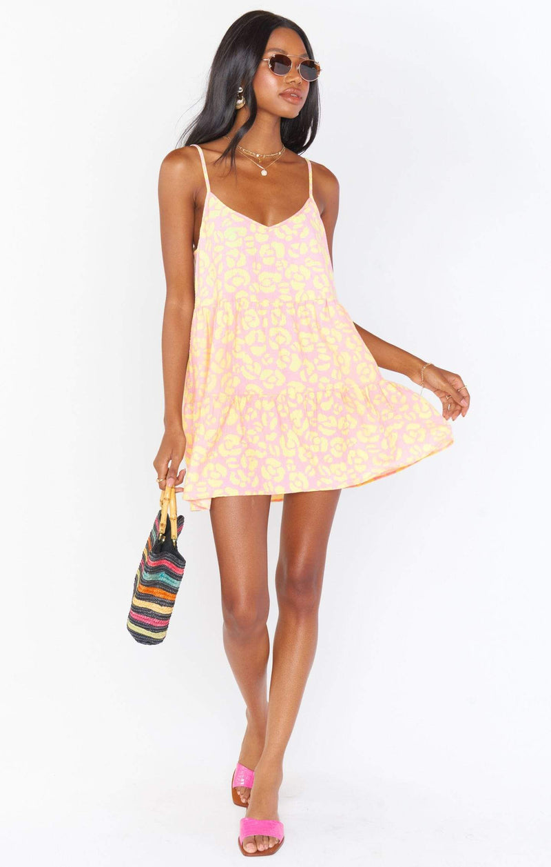 Show Me Your MuMu Dress Caroline Mini Dress Lemonade Cheetah