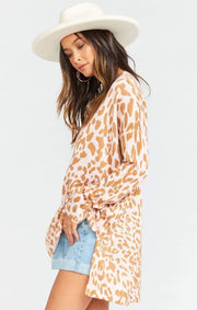 Show Me Your MuMu Sweater Cliffside Sweater Pink Leopard Knit