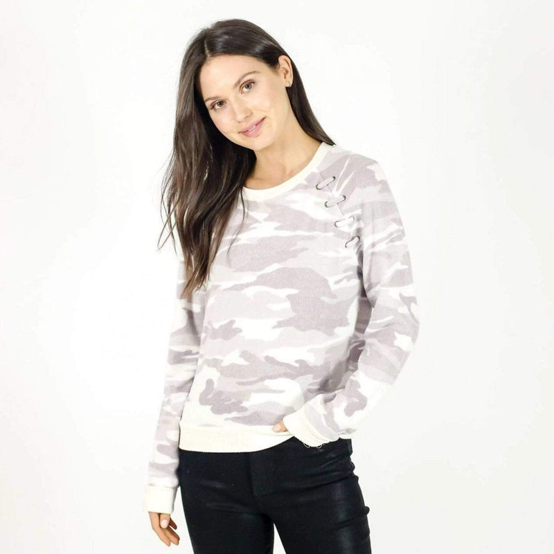 Six Fifty Sweater Medium / White Camo / SF9623Y Hacci Lace Up Raglan Top White Camo