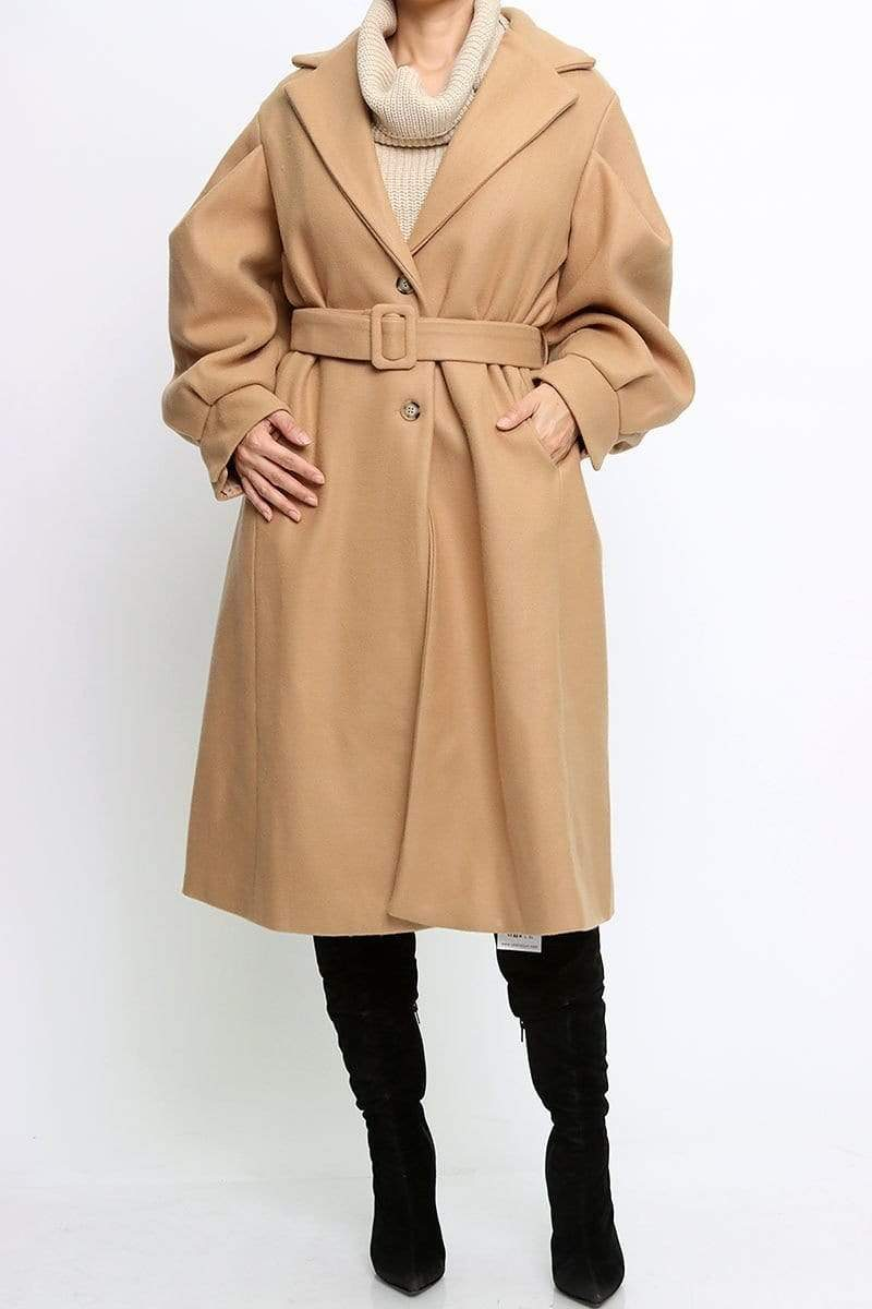 SJK Fashion Jacket Caldwell Notched Collar Trench Camel