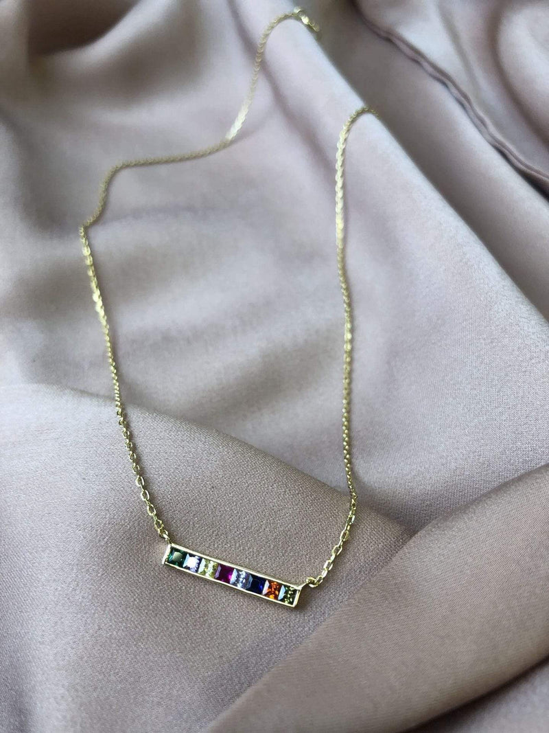 Skies are Blue Accessories Necklace One Size / Gold/925 Mini Rainbow Bar Necklace Gold/925