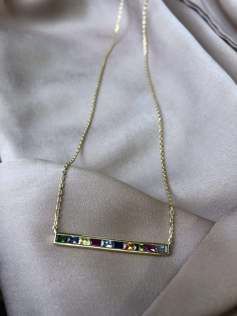 Skies are Blue Accessories Necklace One Size / Gold/925 Rainbow Bar Necklace Gold/925