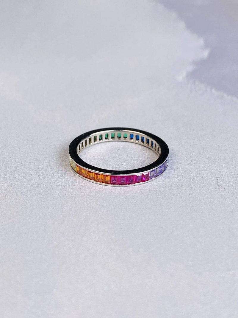 Skies are Blue Accessories Ring Size 6 / .925 / WAN0R5576 Nova Rainbow Baguette Ring .925 Sterling Silver