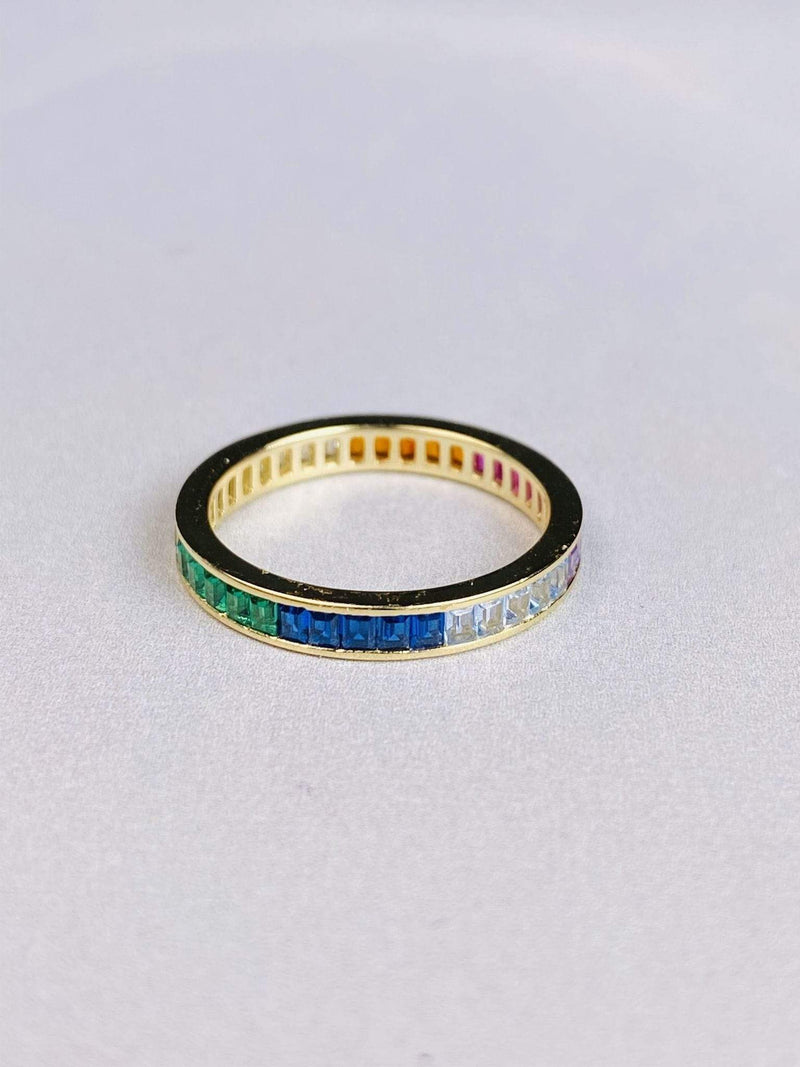 Skies are Blue Accessories Ring Size 6 / Gold/.925 / WAN0R5576 Nova Rainbow Baguette Ring Gold/.925 Sterling Silver