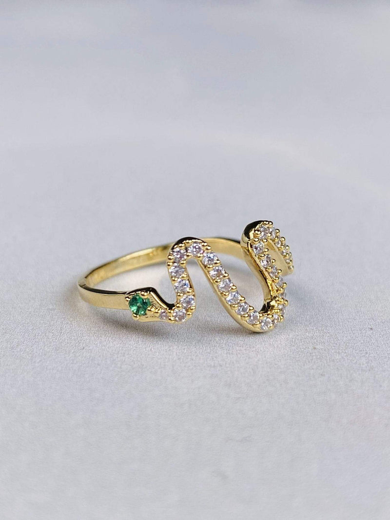Skies are Blue Accessories Ring Size 6 / Gold Miga Diamond Snake Ring Gold/Emerald