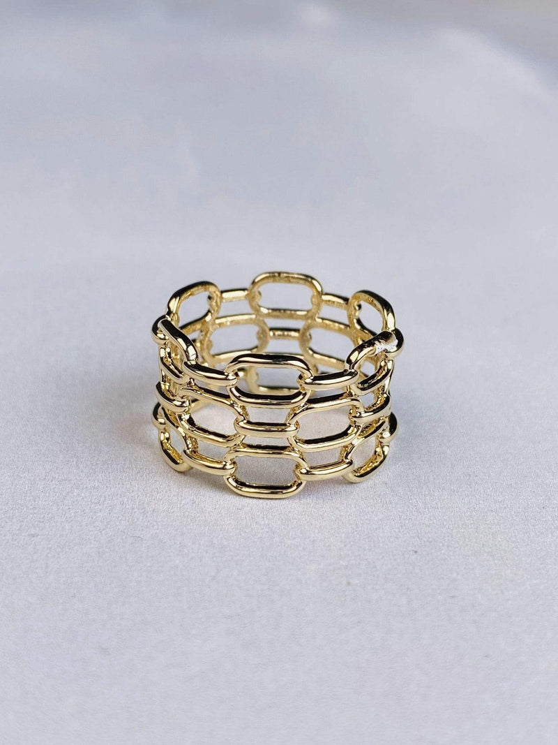 Skies are Blue Accessories Ring Size 6 / Gold / WJK1R5753 Era Chain Link Ring Gold