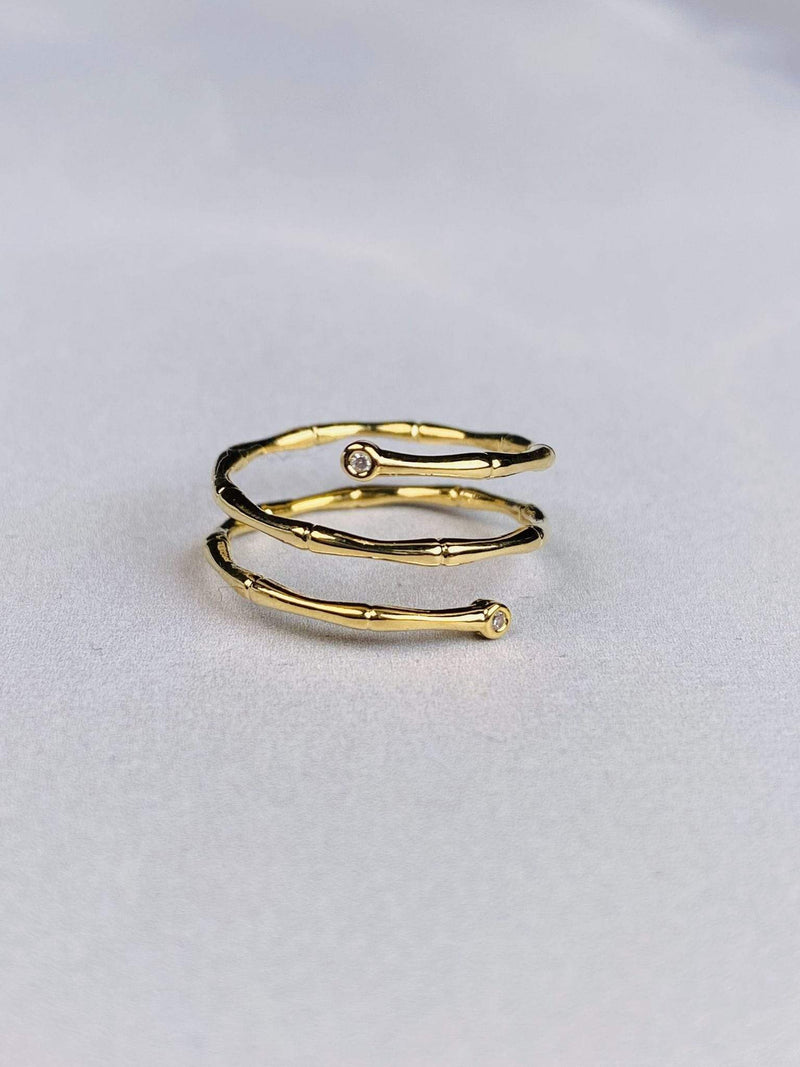 Skies are Blue Accessories Ring Size 6 / Gold / WLK1R5767 Bamboo Diamond Wrap Ring Gold