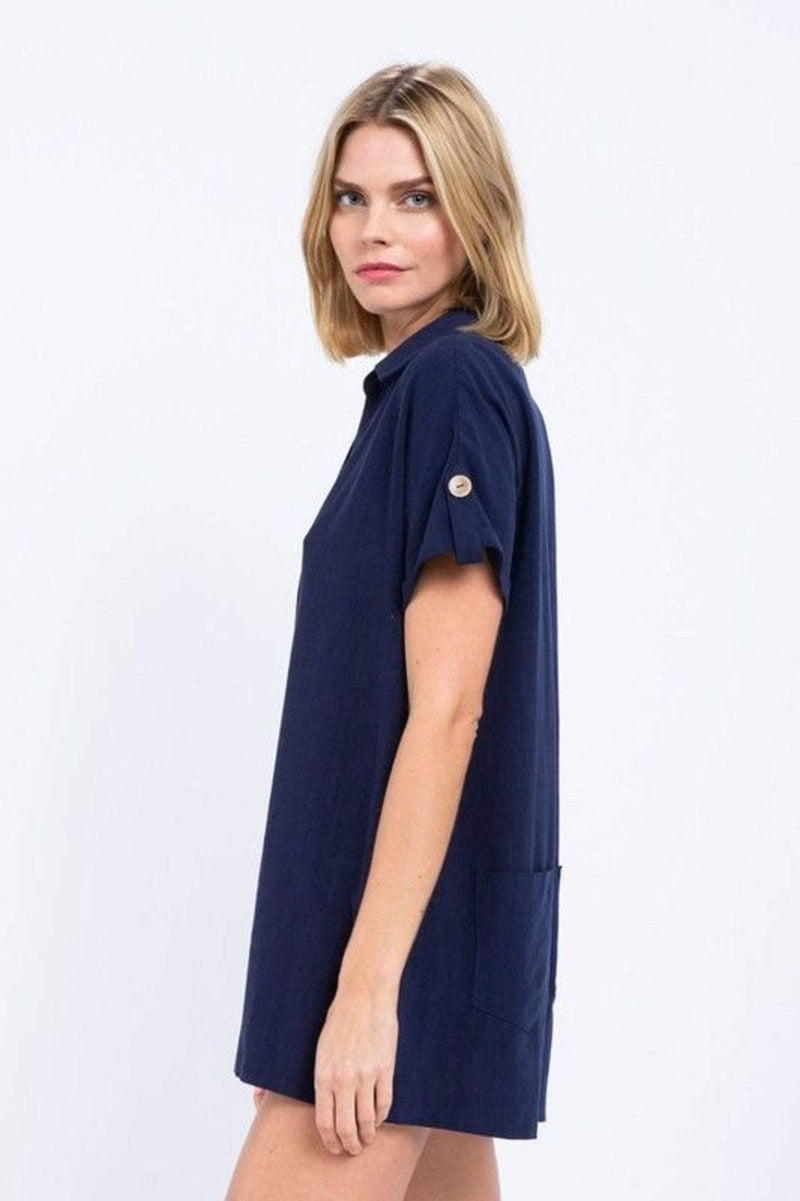 Skylar+Madison Dress Berkley Button Down Romper Navy