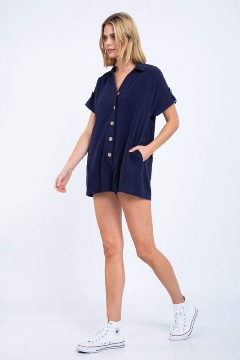 Skylar+Madison Dress X Small / Navy / TPR-3312A Berkley Button Down Romper Navy