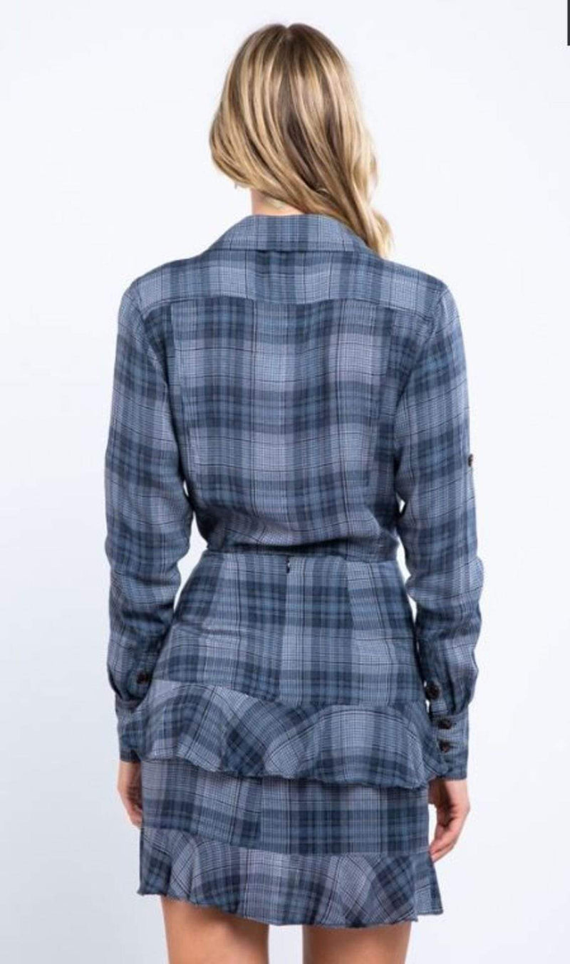 Skylar+Madison Tops Blouse Margot Plaid Tie Shirt Charcoal