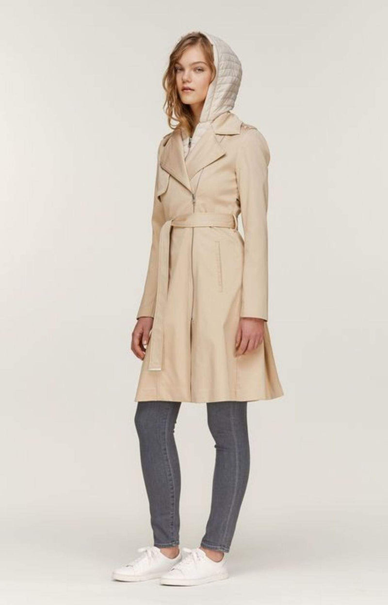 Athie Hooded Rain Coat Almond