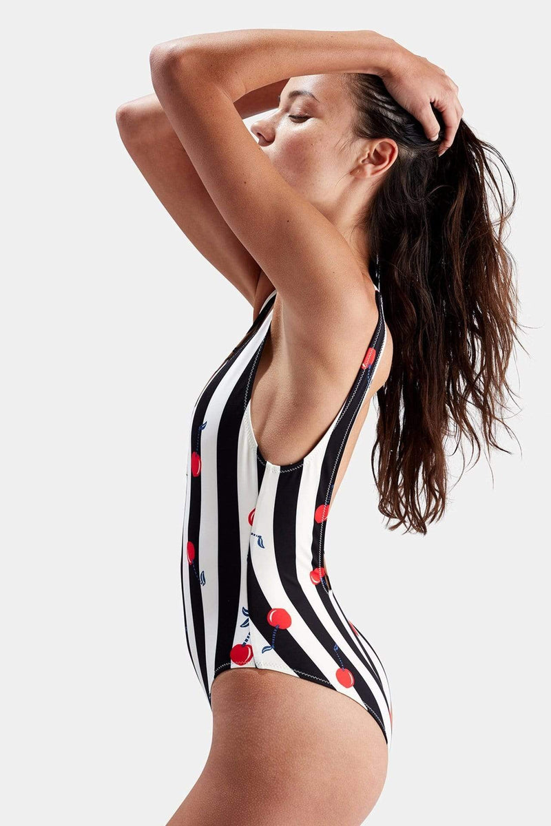Solid & Striped Swim Medium / Cherry / WS-1930 PRINT The Michelle Swimsuit Cherries