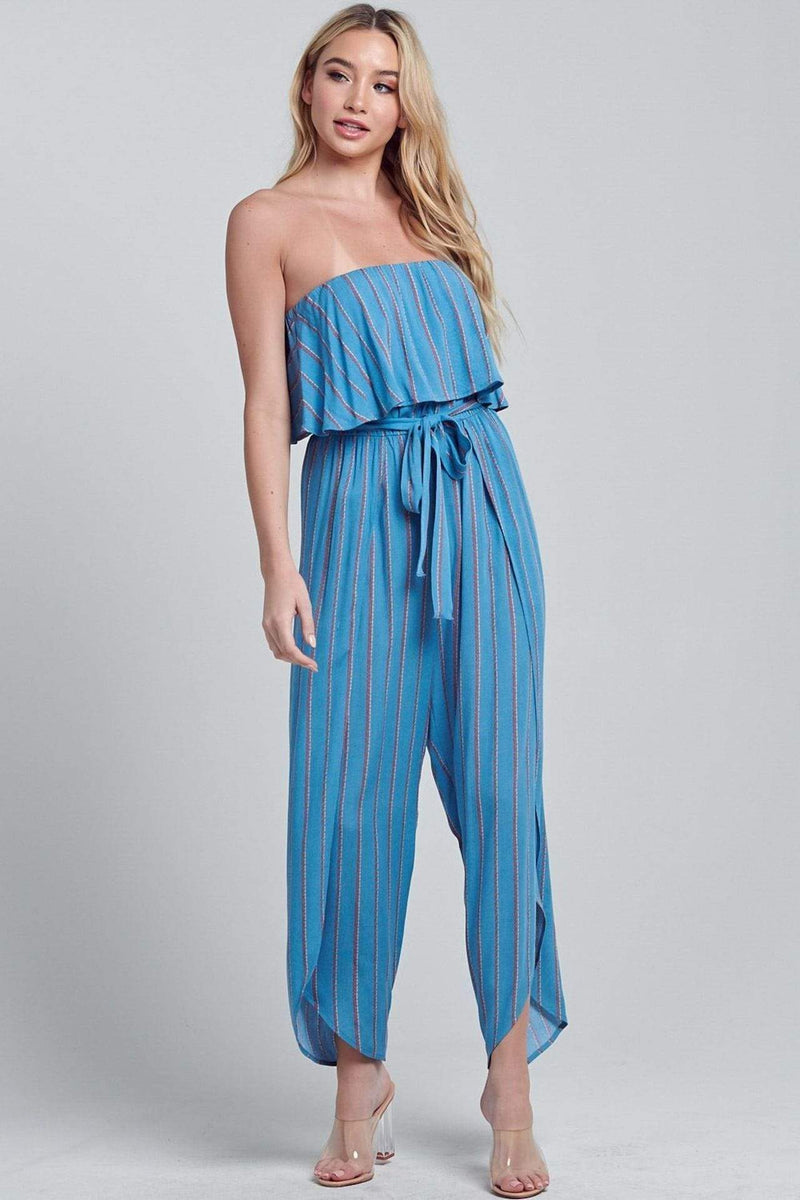 Luna Side Slit Jumpsuit Blue