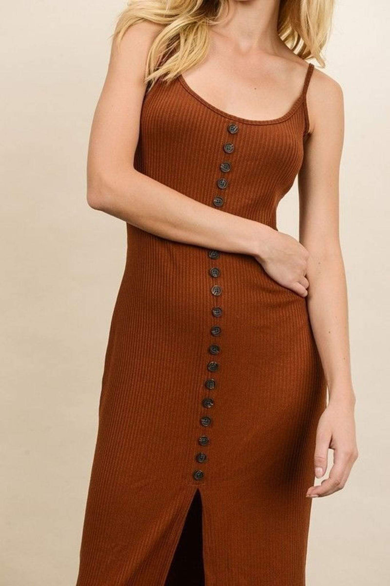 Lydia Ribbed Button Front Midi Dress Brick