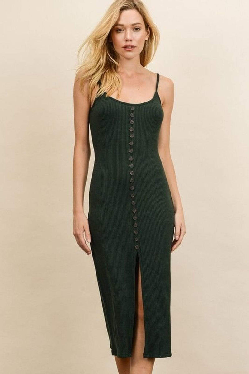 Lydia Ribbed Button Front Midi Dress Hunter Green