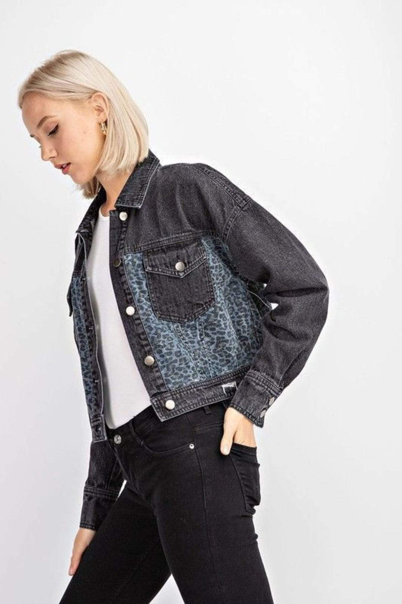 Leopard Crop Denim Jacket Charcoal