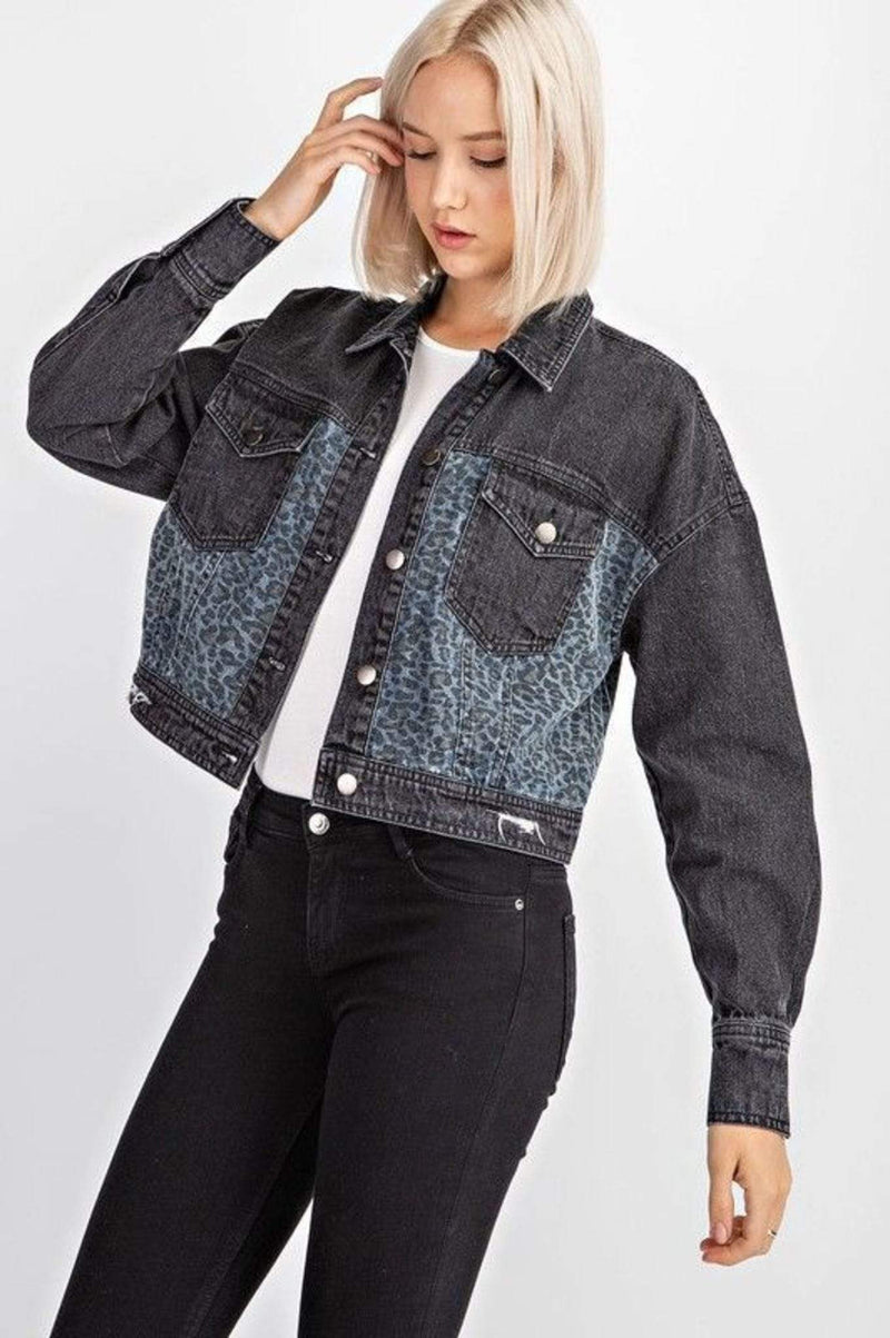 Stone & Salt Jacket Leopard Crop Denim Jacket Charcol