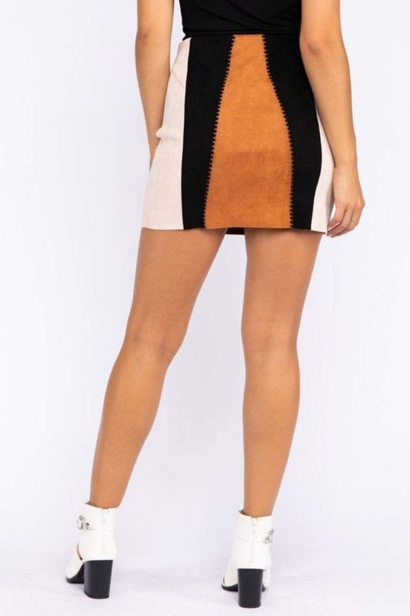 Stone & Salt Skirt Abigail Suede Color Block Skirt Brown Multi