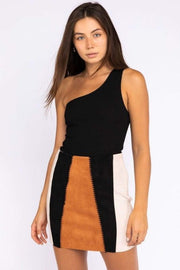 Stone & Salt Skirt X Small / Brown Multi / OS6866 Abigail Suede Color Block Skirt Brown Multi