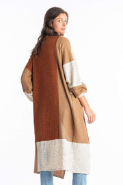 Stone & Salt Sweater Arrian Patchwork Duster Camel Multi