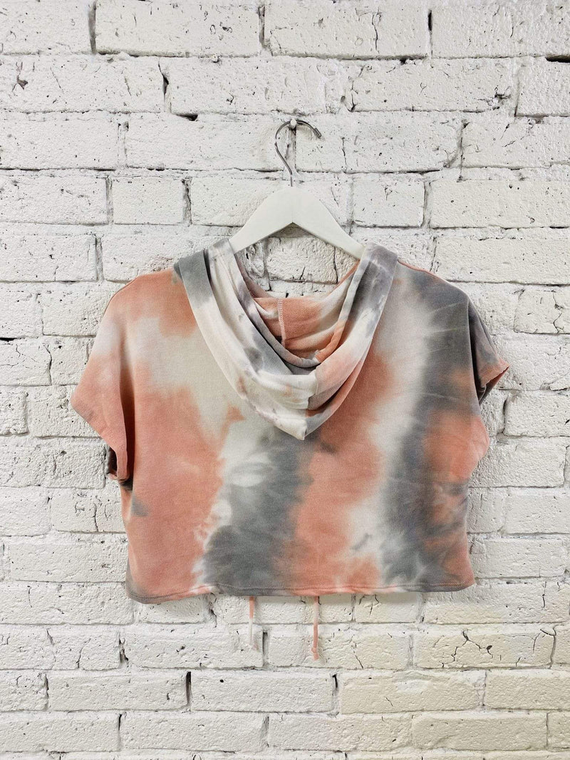 Rhea French Terry Tie Dye Cropped Hoodie Grey Multi