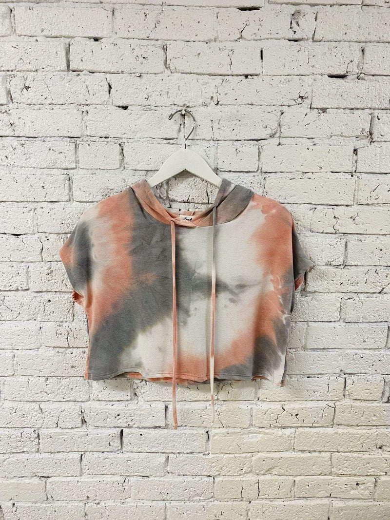 Stone & Salt Tee Casuals X Small / Grey Multi / 0195-3664-1 Rhea French Terry Tie Dye Cropped Hoodie Grey Multi