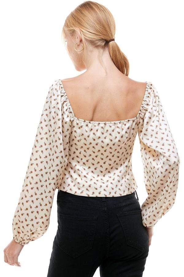 Stone & Salt Tops Blouse Brier Lace Up Front Floral Top Tan