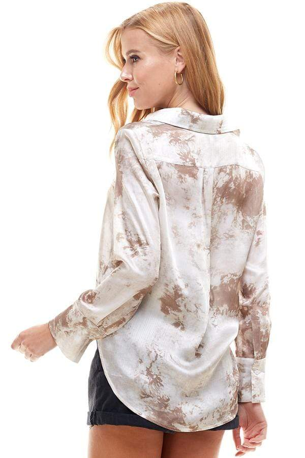 Stone & Salt Tops Blouse Carlin Tie Dye Top Taupe
