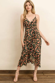 Style Forum Dress Caldwell Floral Midi Dress Green/Coral