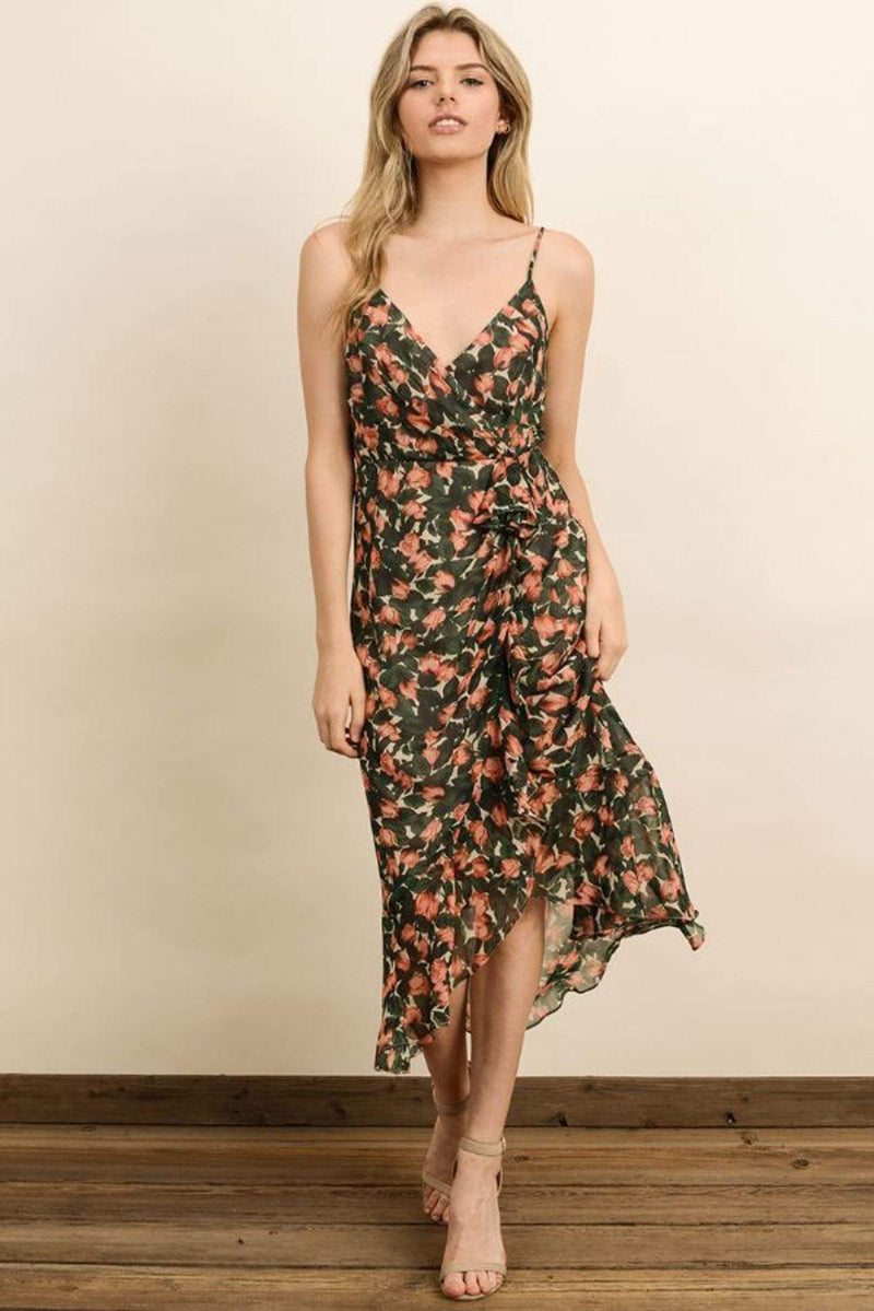 Style Forum Dress X Small / Green/Coral / FD3641 Caldwell Floral Midi Dress Green/Coral