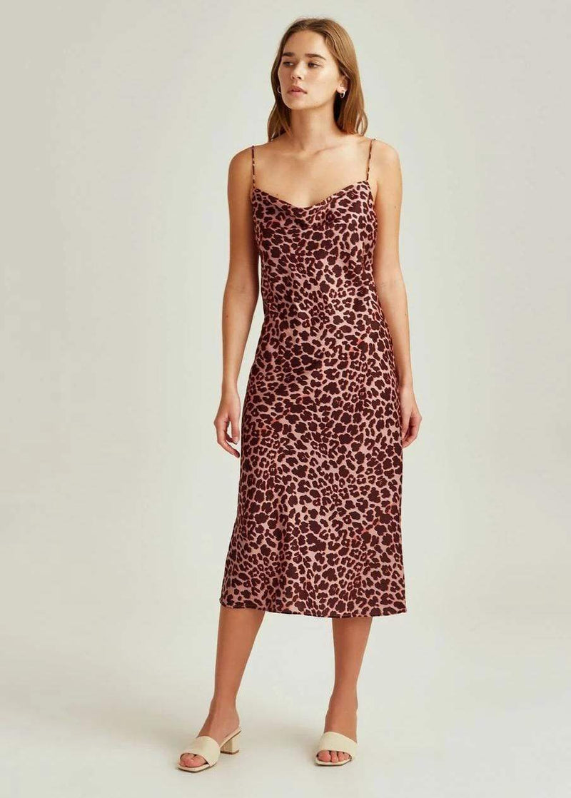Leopard Midi Dress Peach