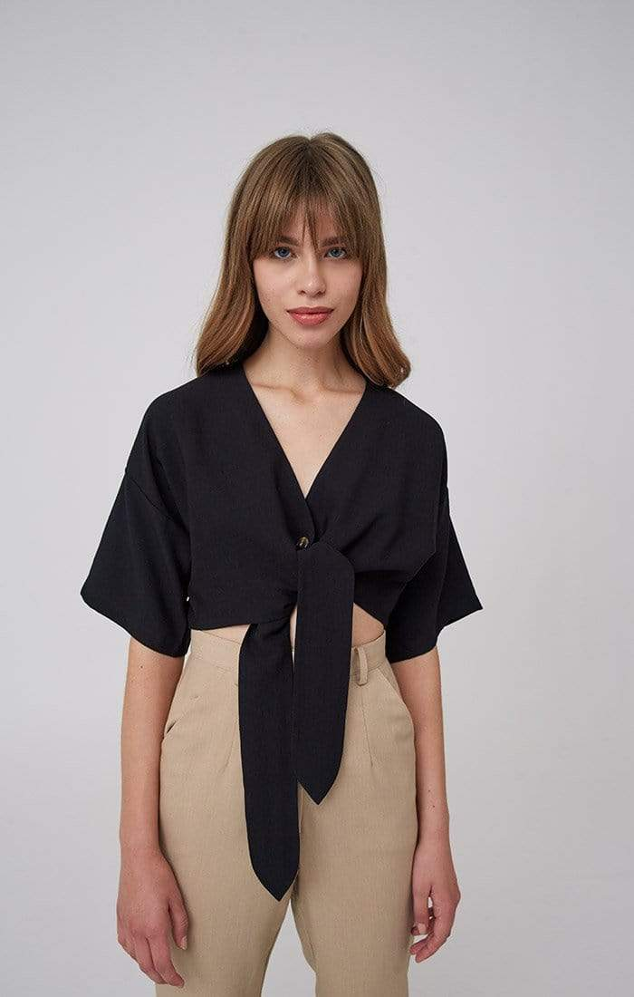 The Fifth Tops Blouse Hideaway Front Tie Top Black