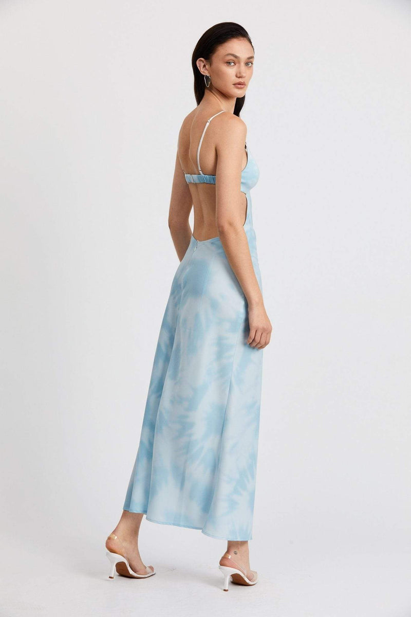 Tie Dye Tri Midi Dress Blue Multi