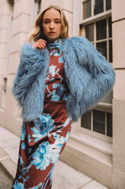 Unreal Fur Jacket Passage of Venus Faux Fur Jacket Cosmic Blue