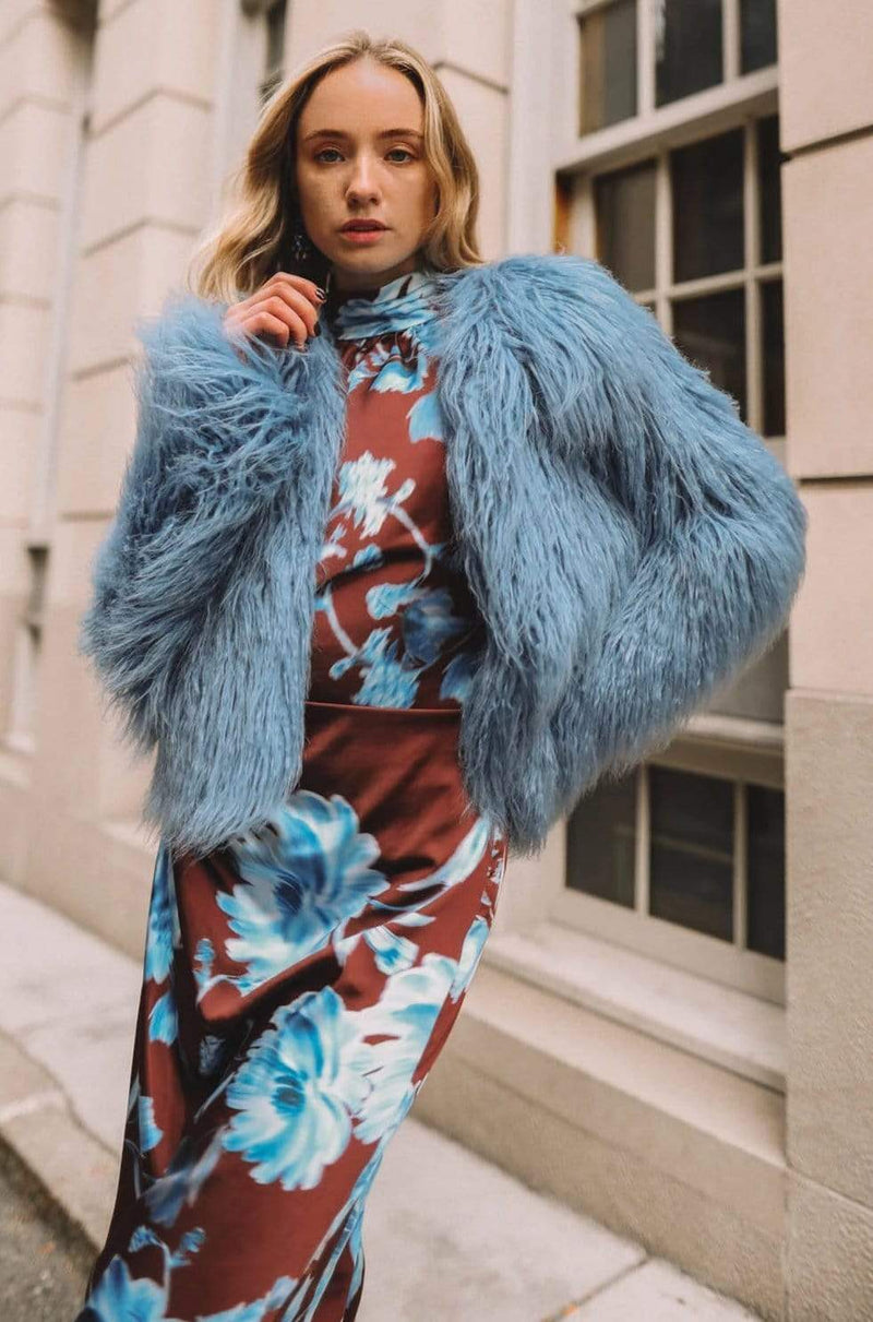 Passage of Venus Faux Fur Jacket Cosmic Blue