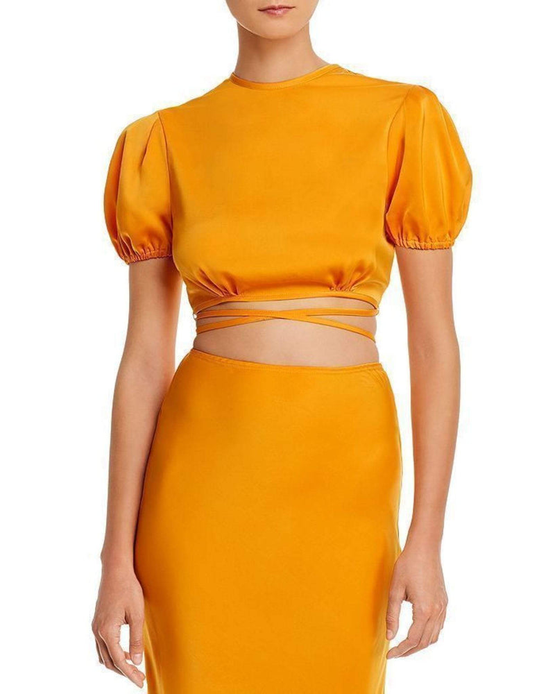 WAYF Tops Blouse Large / Tangerine / 70460WCH Kati Short Sleeve Crop Top Tangerine