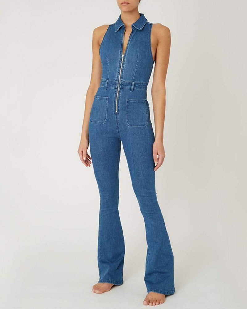 We Wore What Dress Sleeveless Jumpsuit Light Wash