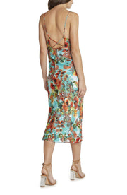 WILLOW AND CLAY Dress Capri Printed Satin Burnout Slip Dress Aqua
