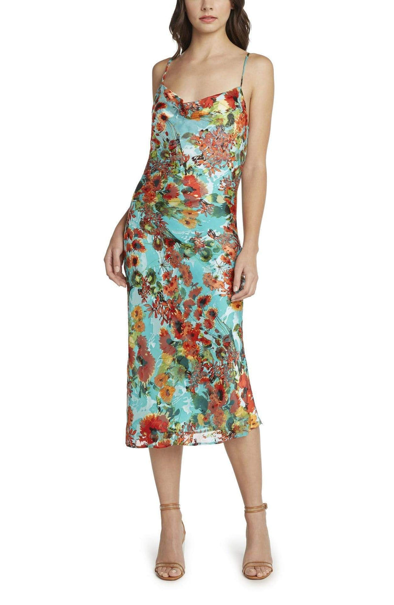 WILLOW AND CLAY Dress Large / Aqua / WD83714075 Capri Printed Satin Burnout Slip Dress Aqua