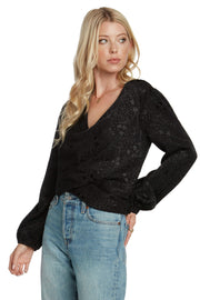 WILLOW AND CLAY Tops Blouse Noir Long Sleeve Twist Top Black
