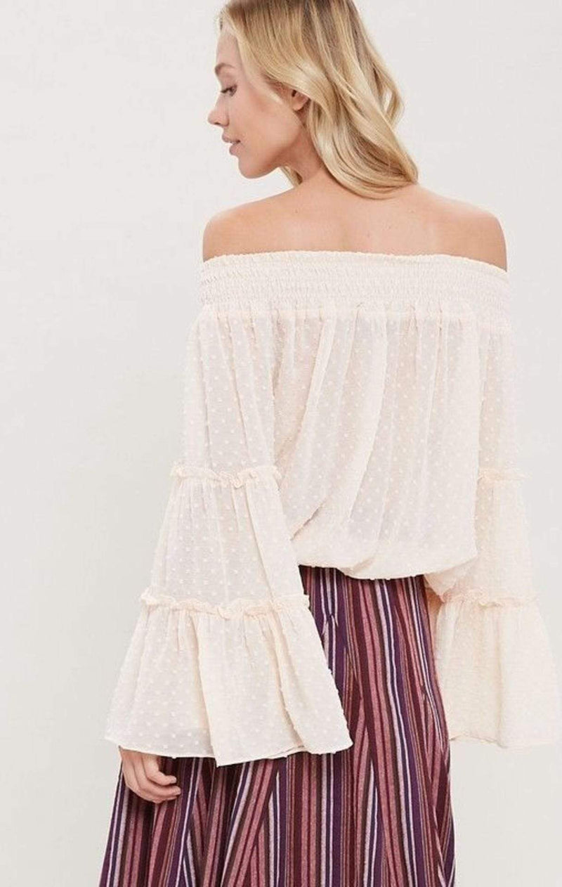 WishList Tops Blouse Peony Off the Shoulder Bell Sleeve Top Blush
