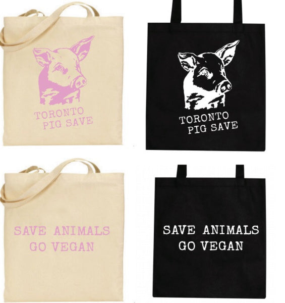Toronto Pig Save Tote Bag - Beige and Black