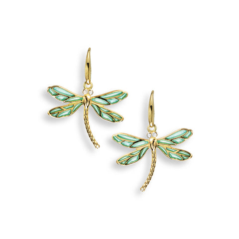 18k Dragonfly Drop Earrings with Clear Blue Enamel & Diamonds