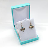 Victorian Style Silver Dragonfly Earrings with Blue Topaz