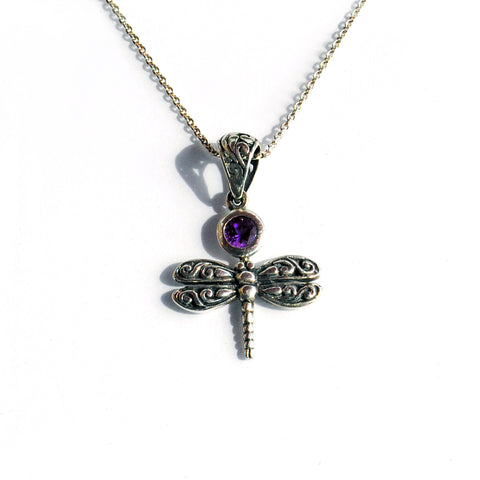 Silver Dragonfly pendant with Amethyst